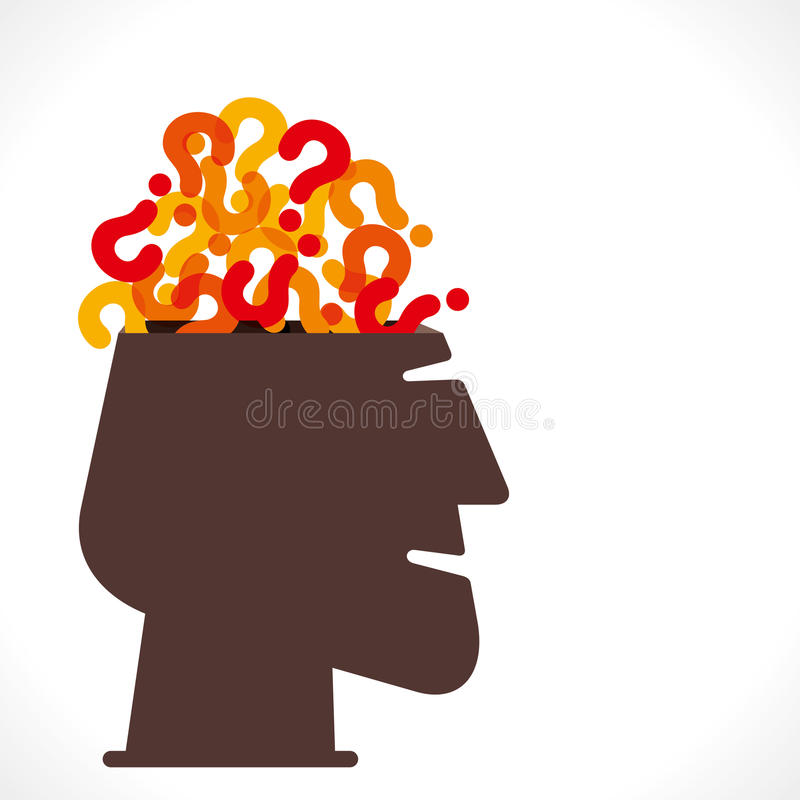 Head with full of question mark stock illustration
