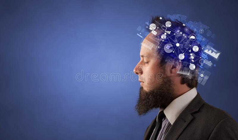 Head full of reports and global management concept royalty free stock photography