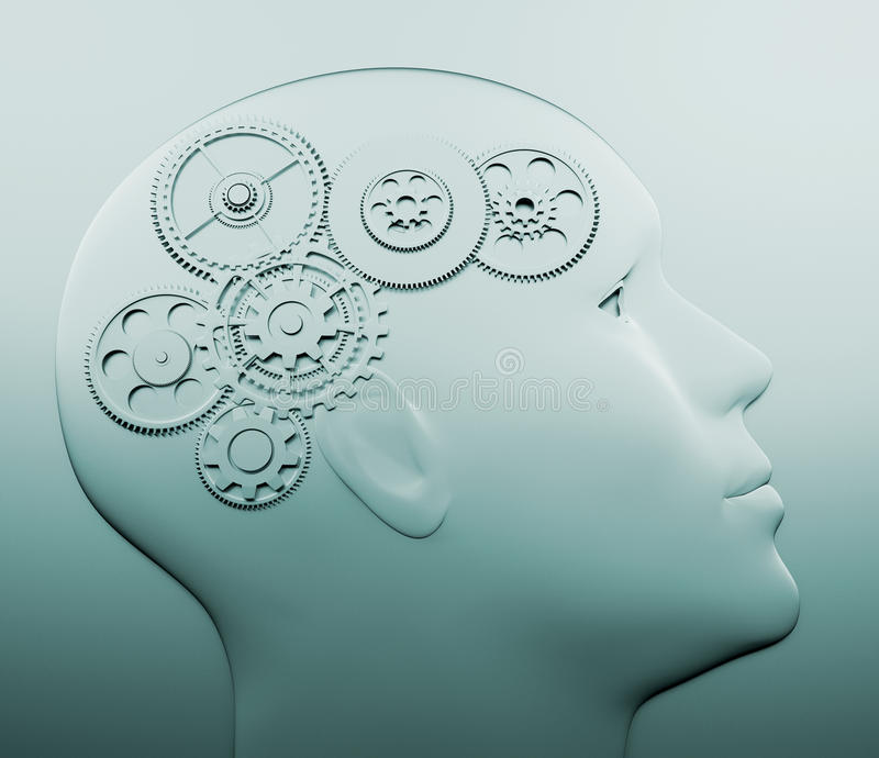 Head with gear. Intelligence concept - this is a 3d render illustration stock illustration