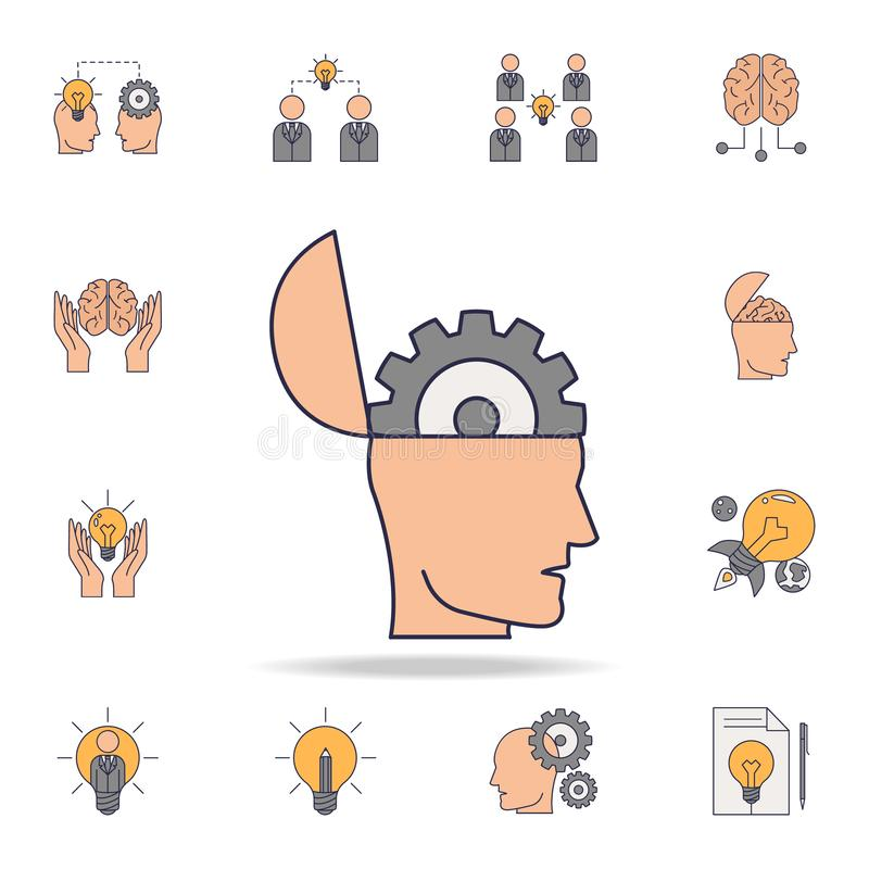 head with a gear fild color icon. Detailed set of color idea icons. Premium graphic design. One of the collection icons for royalty free illustration