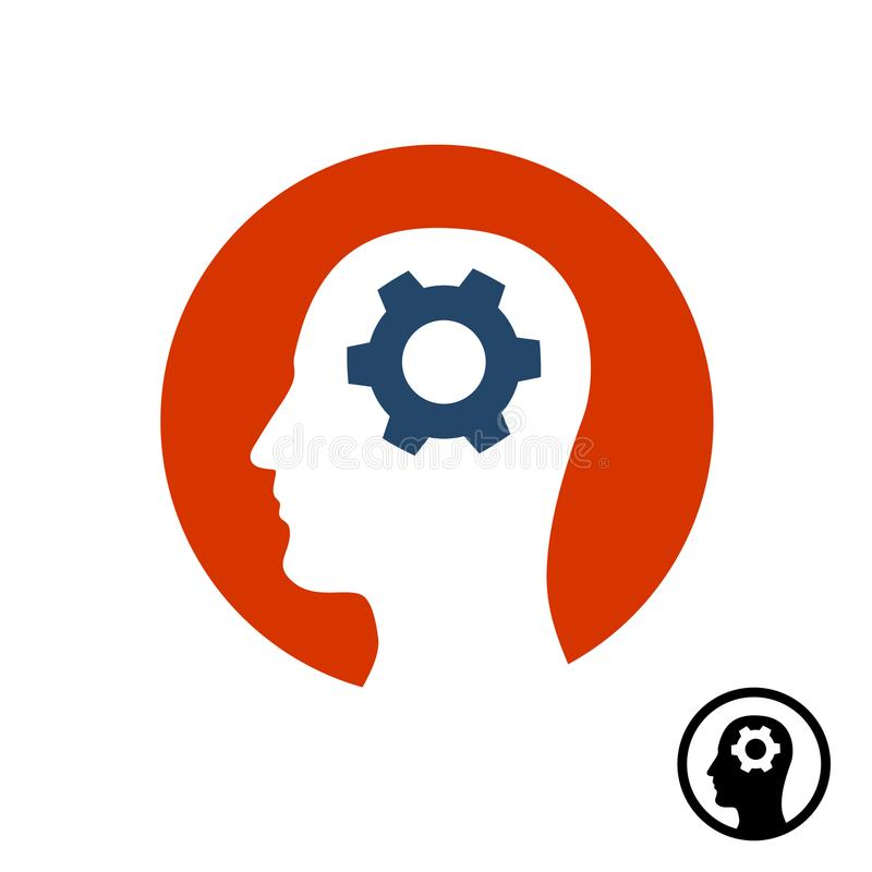 Head gear icon. Brain activity symbol. Human head silhouette with round gear inside. Thinking royalty free illustration