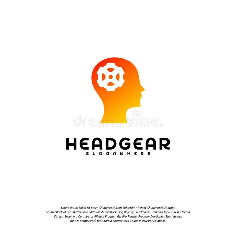 Head Gear logo vector, Head intelligence logo designs concept vector stock illustration