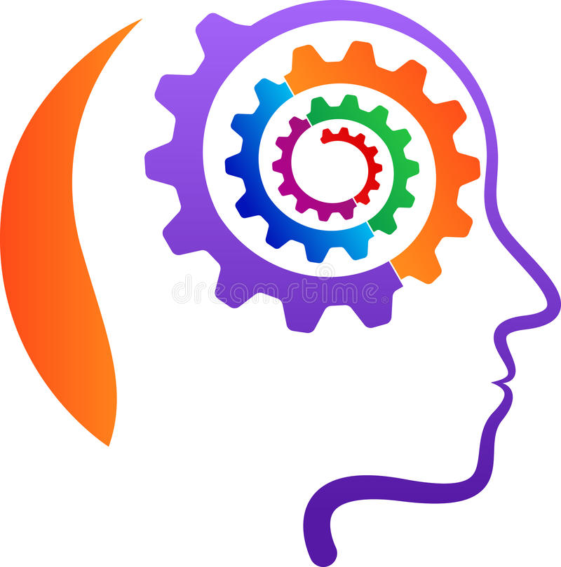 Head with gear mind stock illustration
