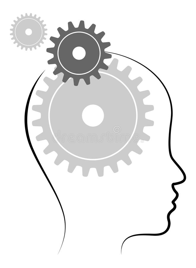 Head with gears. Illustration of head with gears on white background vector illustration