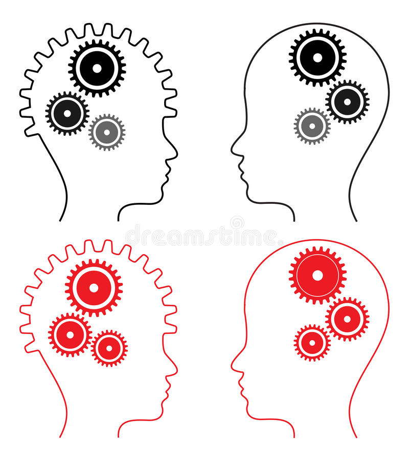 Head with gears royalty free illustration