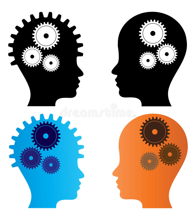 Head with gears. Illustration of head with gears on white background stock illustration