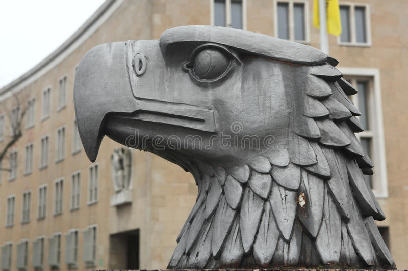 Head of German Eagle in front of the Tempelhof Airport in Berlin stock photo