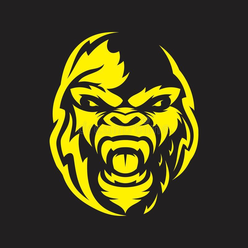 Head gorilla angry vector for emblem design with yellow color on the black background royalty free illustration