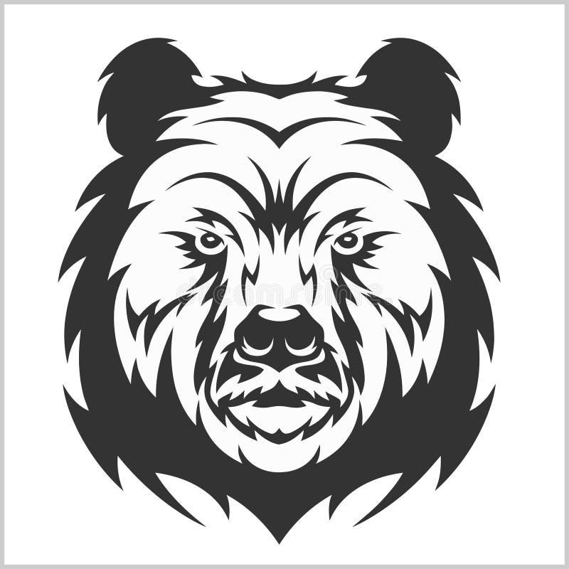 Head gråsprängd brunbjörn i stam- stil vektor illustrationer