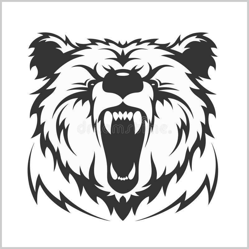 Head gråsprängd brunbjörn i stam- stil stock illustrationer