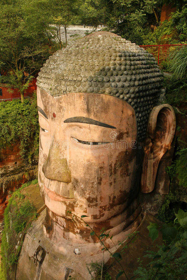The Head of the Grand Buddha at Le Shan royalty free stock photo