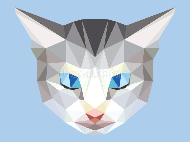 Head of gray cat low polygon with blue eyes, geometric animal face royalty free illustration
