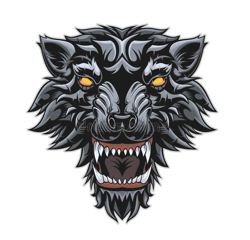 Head of a growling wolf. stock illustration