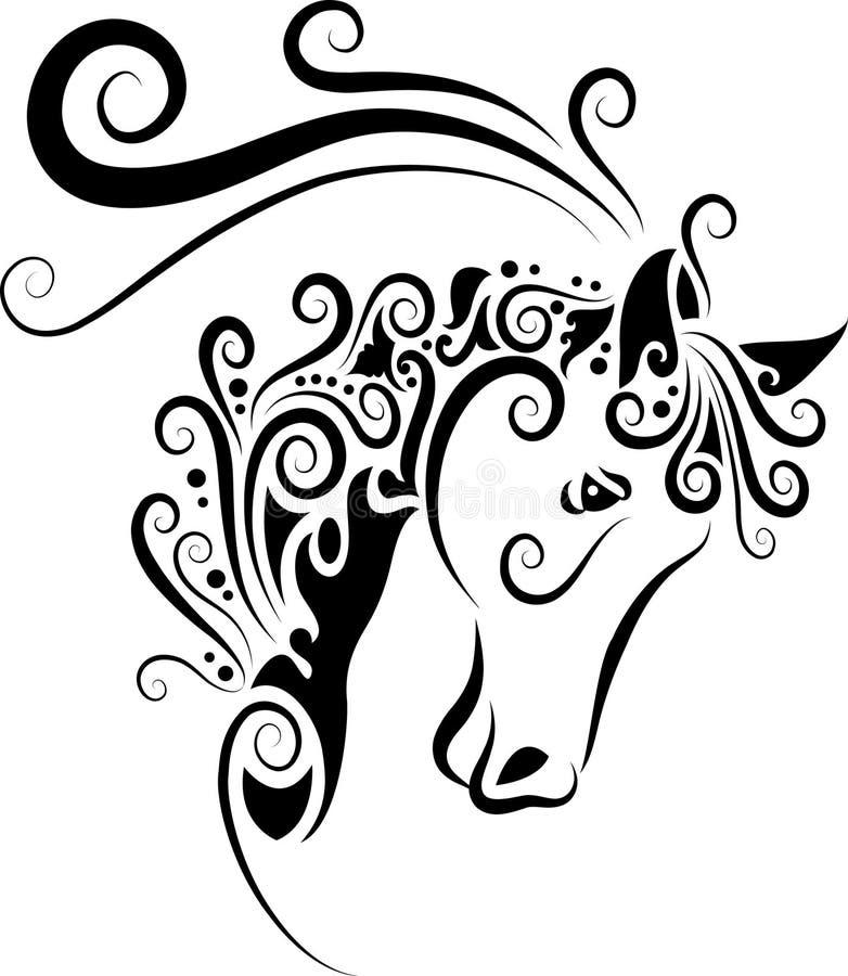 head hästprydnad stock illustrationer