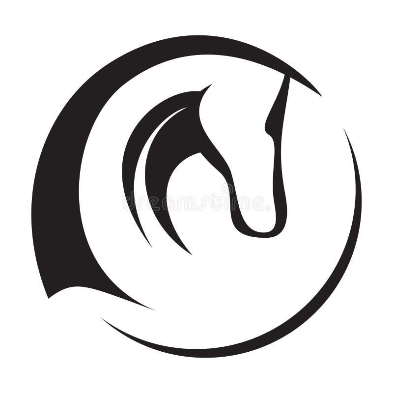 head hästsymbol stock illustrationer
