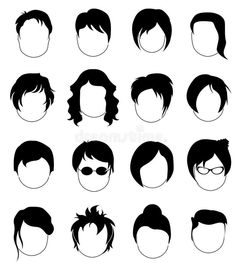 Head hårsymbolsuppsättning royaltyfri illustrationer