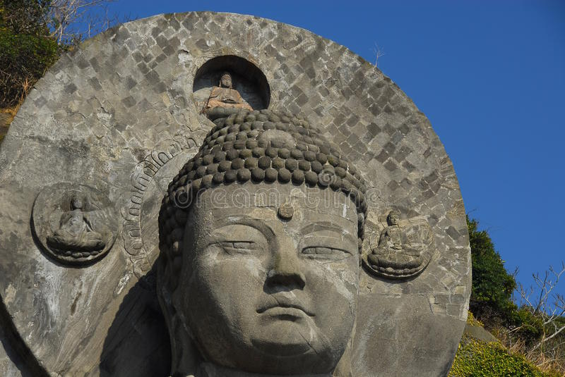 Head and halo of Great Buddha. Head and halo of the Great Buddha at Nihon-ji, Nokogiriyama, Chiba prefrecture, Japan royalty free stock image