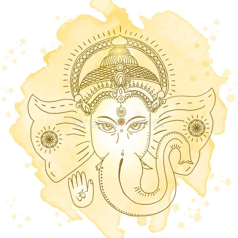 Head of Hindu god Ganesha. Vector illustration royalty free illustration