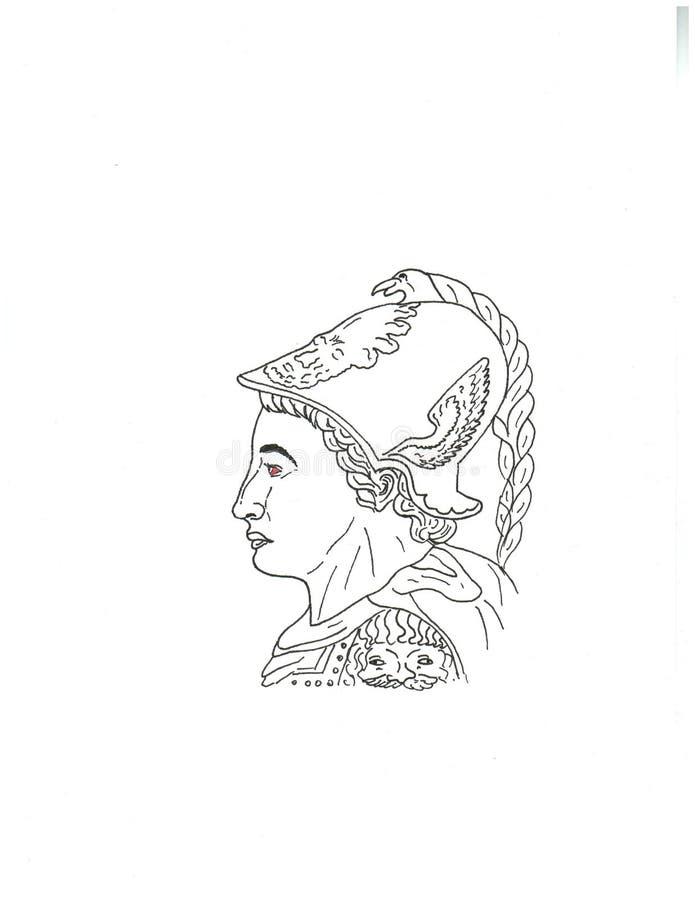 Head history helmet face Alexander the Great royalty free illustration