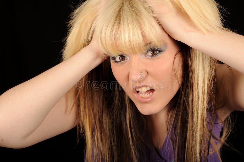 head holding belastad kvinna arkivbilder