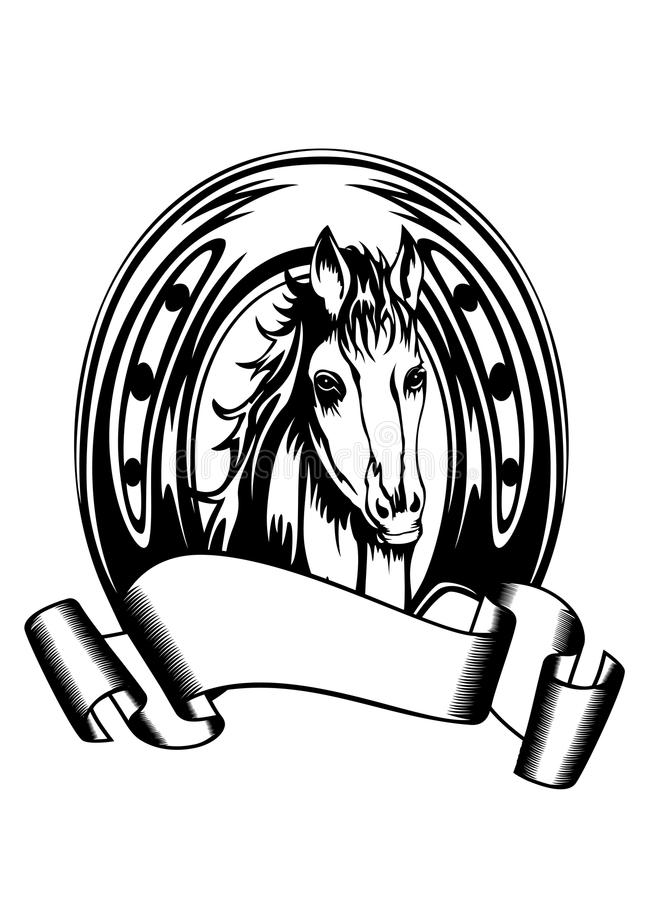 Head Horse In Horse Shoe Stock Vector Image Of Beautiful