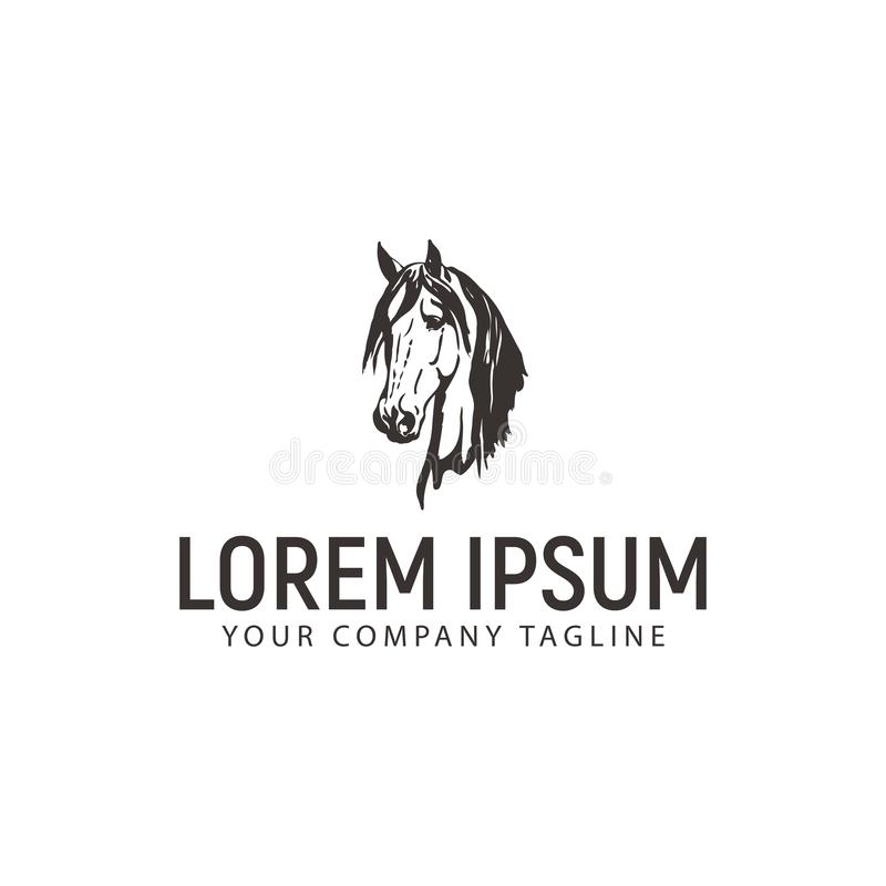 Head horse logo. vintage design concept template. Vector stock illustration