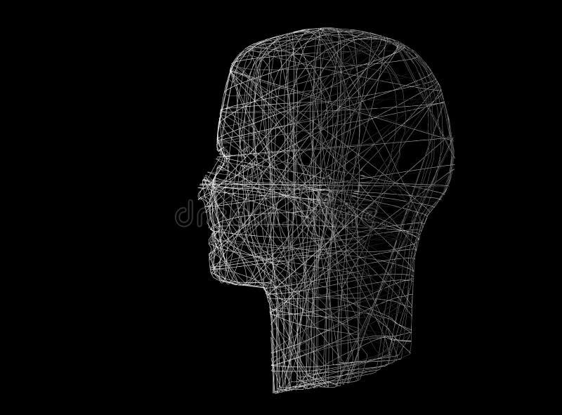 head human Den Wireframe modellen med anslutning fodrar på svart, 3d vektor illustrationer