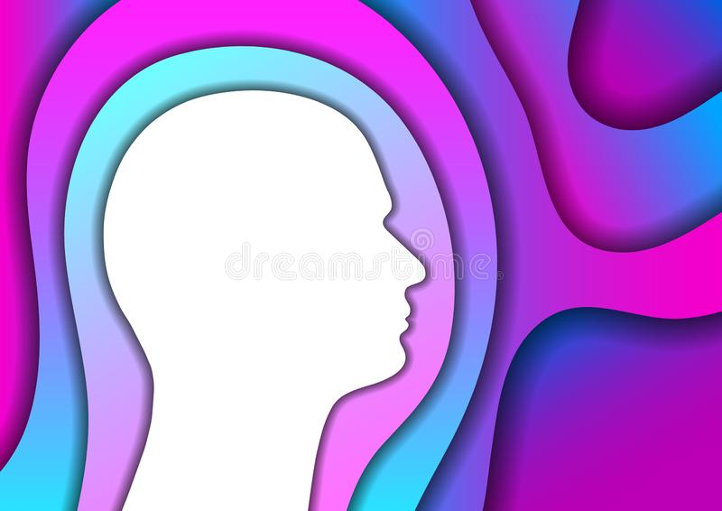 Head human silhouette white abstract schematic from gradient color of blue and pink layers paper cut 3D shadows one over the other stock illustration
