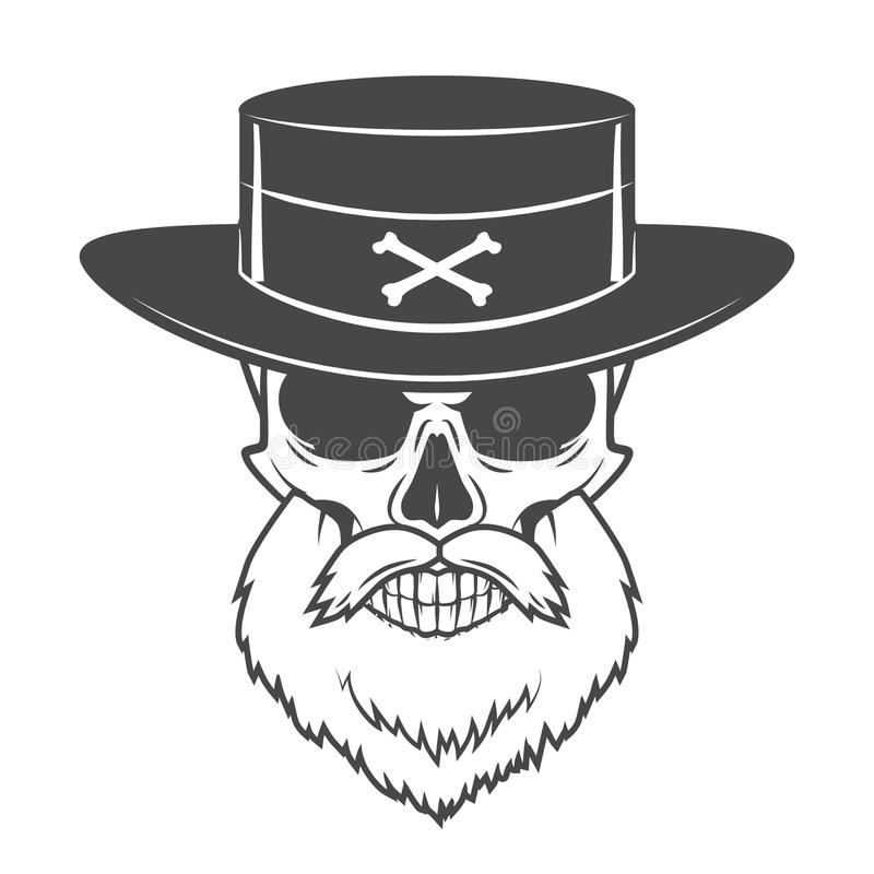 Head hunter skull with beard and hat vector. Rover. Head hunter skull with beard, hat and glasses vector. Rover logo template. Bearded old man t-shirt design royalty free illustration