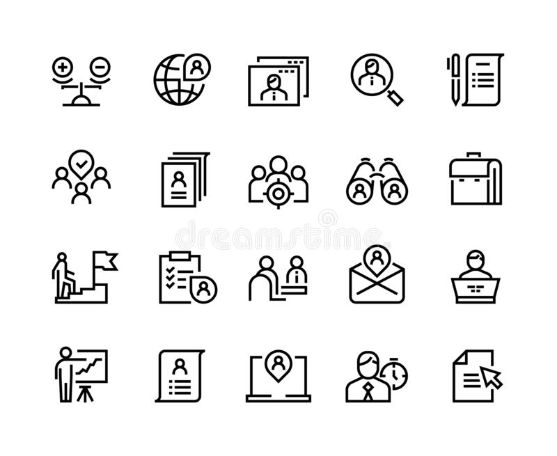 Head hunting line icons. Job interview career candidate company human resources people search. Corporate professional royalty free illustration