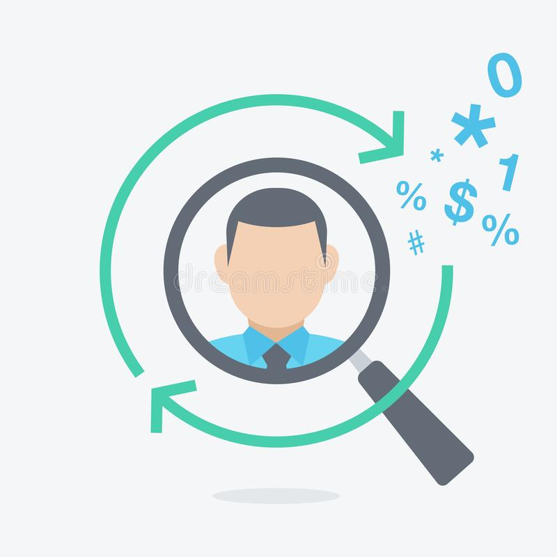 Head hunting and recruitment flat symbol with a magnifier looking for new employee or key person. Easy to use for your website or presentation royalty free illustration