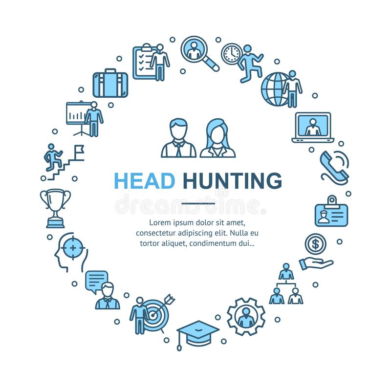 Head Hunting Signs Round Design Template Thin Line Icon Concept. Vector vector illustration