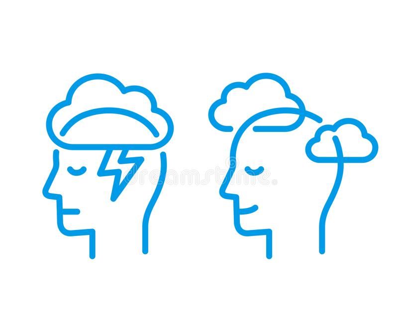 Head icon with cloud stock illustration