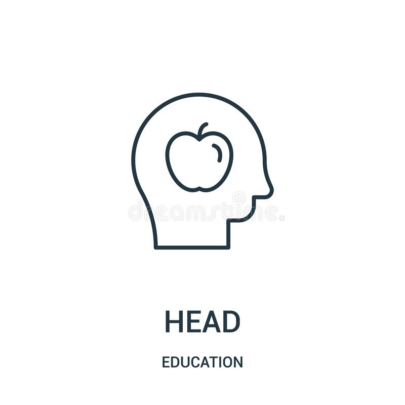 Head icon vector from education collection. Thin line head outline icon vector illustration. Linear symbol for use on web and mobile apps, logo, print media royalty free illustration