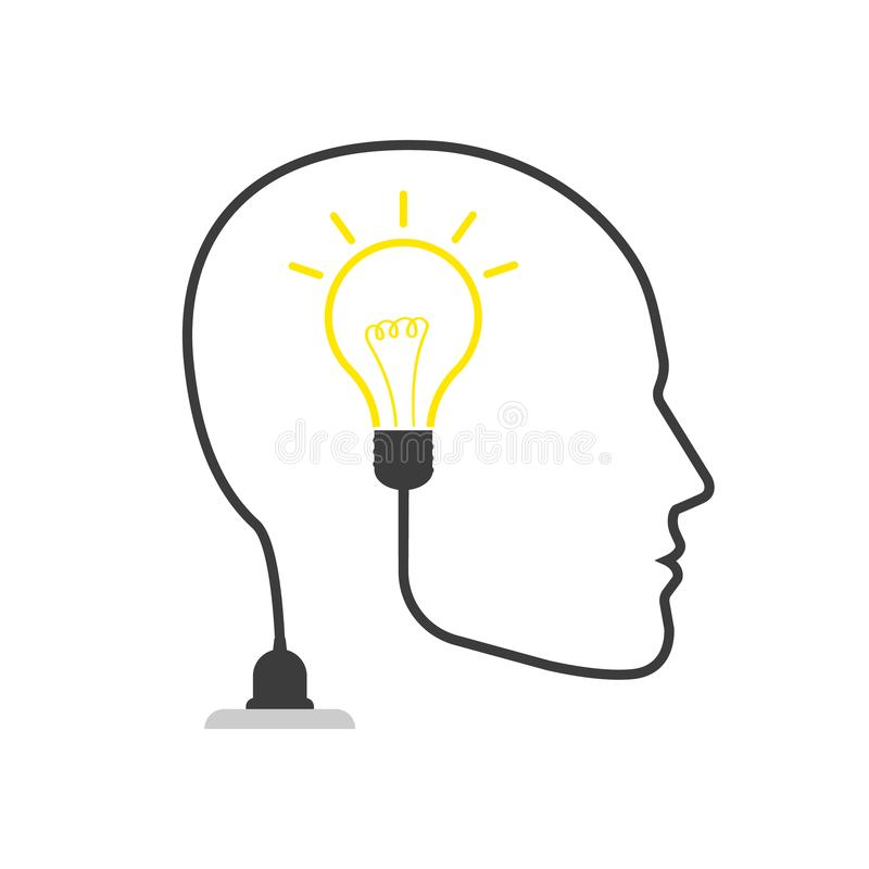 Head with idea light bulb line icon, outline vector logo. Isolated royalty free illustration