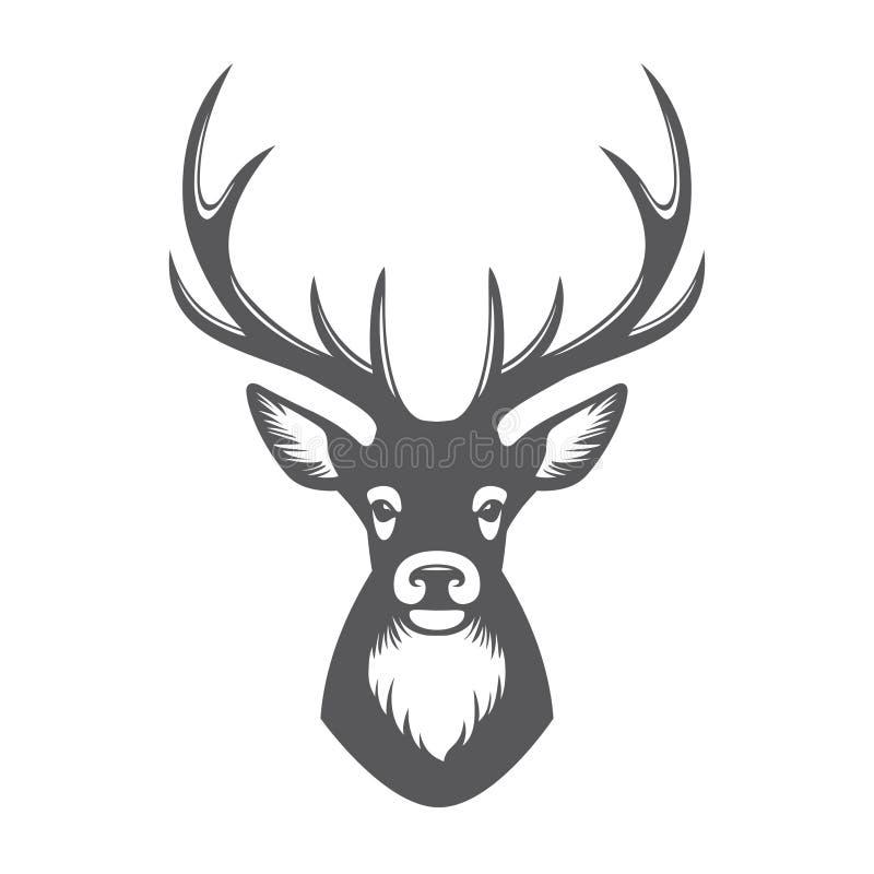 Head illustration för hjortar vektor illustrationer