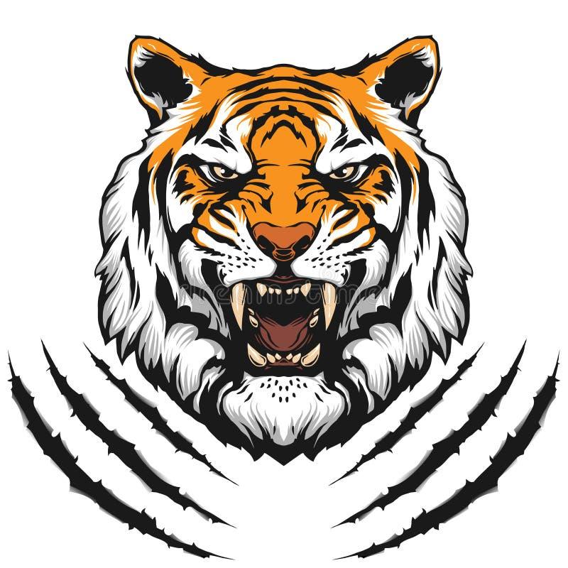 Head illustration för tiger vektor illustrationer