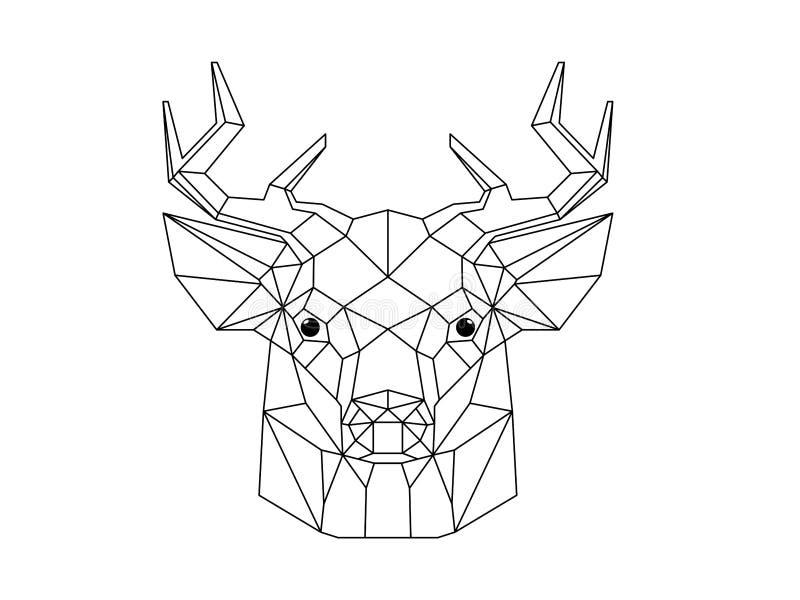 Head illustration f?r hjortar royaltyfri illustrationer