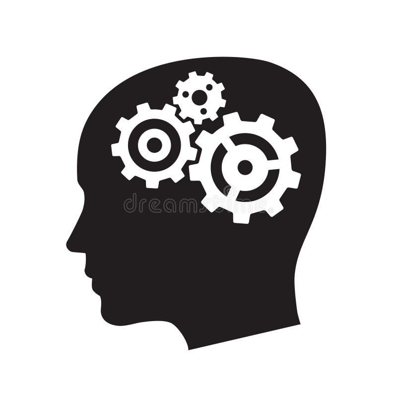 head illustrationvektor för kugghjul stock illustrationer
