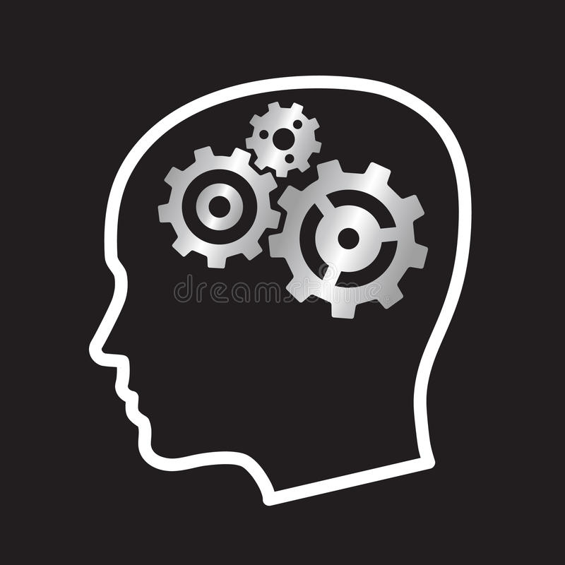 head illustrationvektor för kugghjul royaltyfri illustrationer