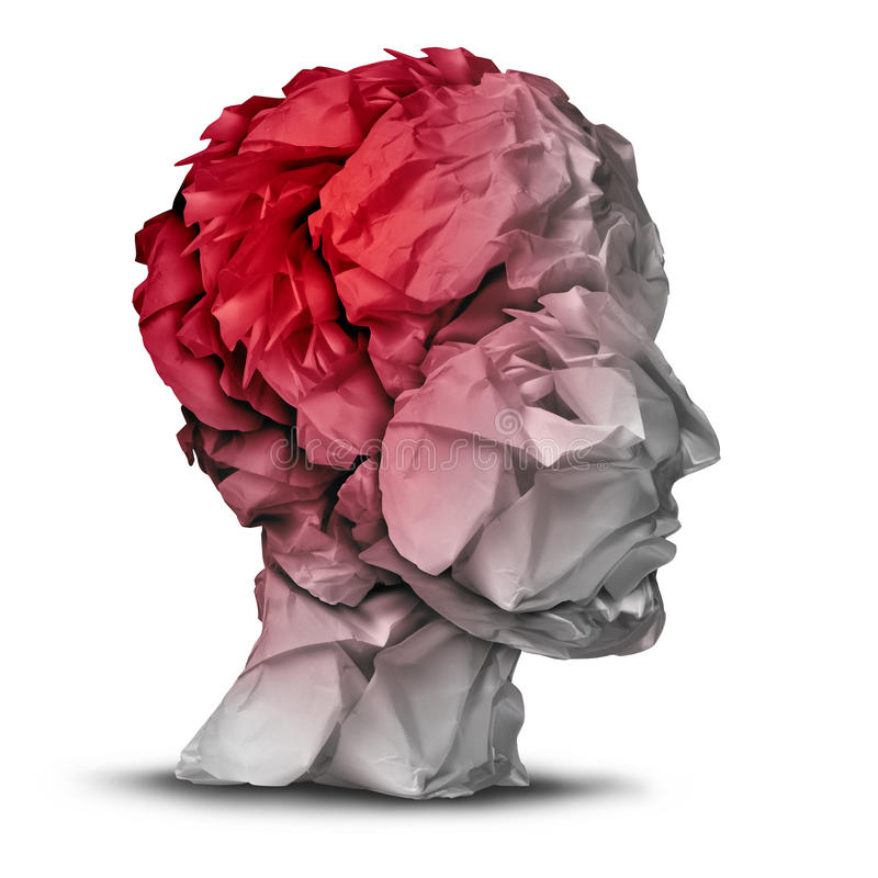 Head Injury. And traumatic brain accident medical and mental health care concept with a group of crumpled office paper shaped as a human mind with red vector illustration