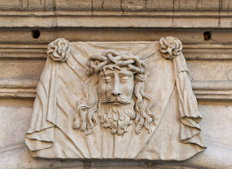 Carved Stone Crown : Head of jesus christ stock photo image sculpture