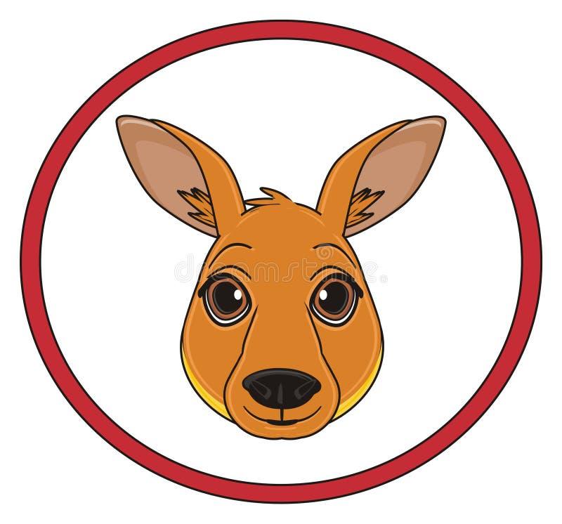 Head of kangaroo and road sign stock illustration