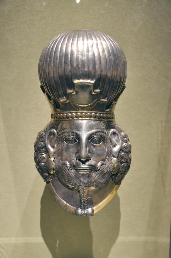 Head of a king, Iran Art. Head of a king, Gilded silver, Iran, Sasanian period, 4th century A.D. This work of art is permanently displayed at the Metropolitan stock photos