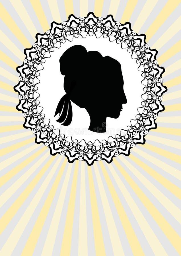 Head kontur för dam, svart profil i den utsmyckade cirkellinjen ram royaltyfri illustrationer