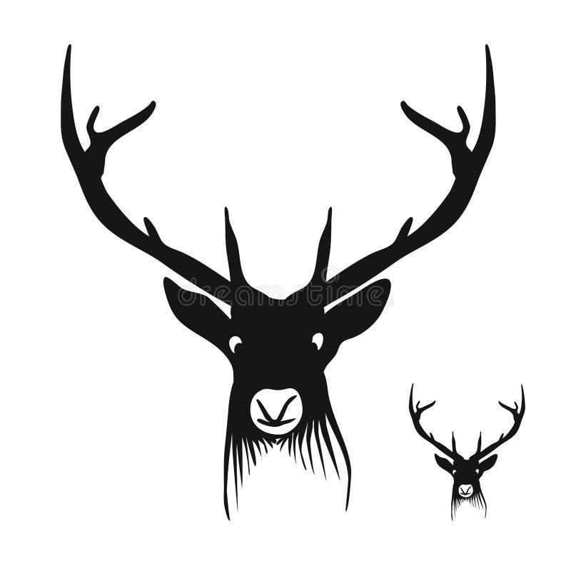 Head kontur för hjortar vektor illustrationer