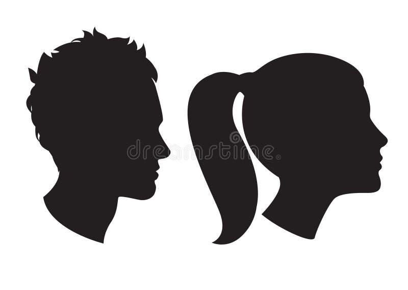 Head kontur för kvinna och för man royaltyfri illustrationer