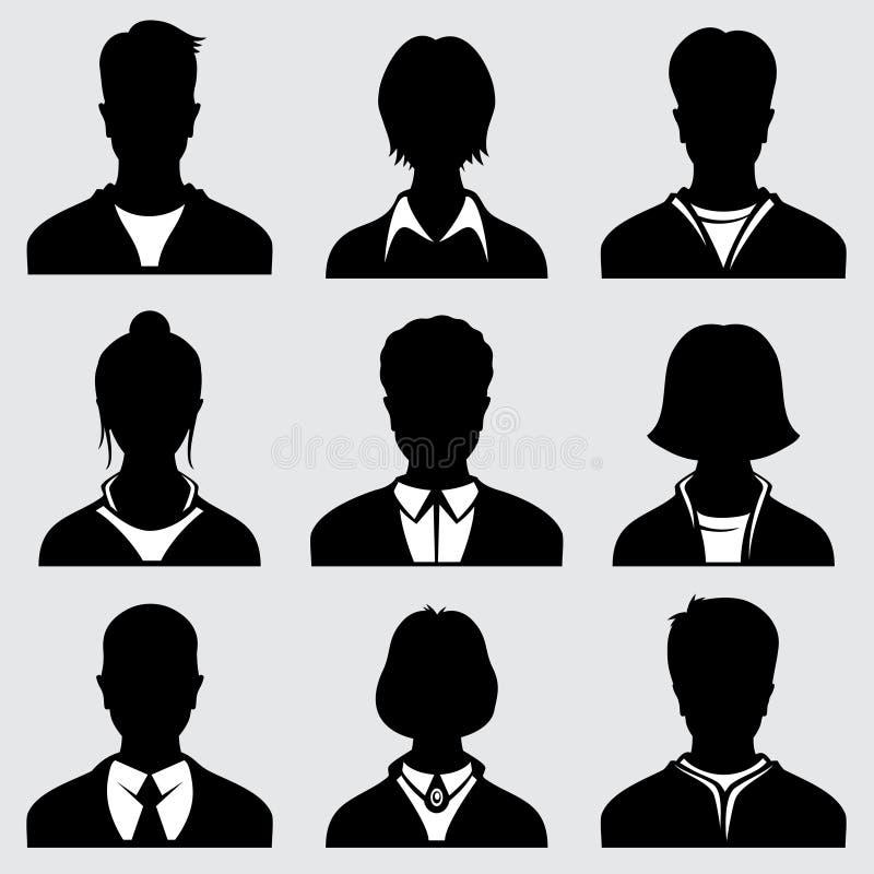 Head konturer för kvinna och för man, anonyma personvektorsymboler royaltyfri illustrationer