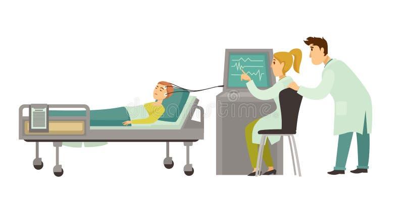 Head läkarundersökningvektorencephalography vektor illustrationer