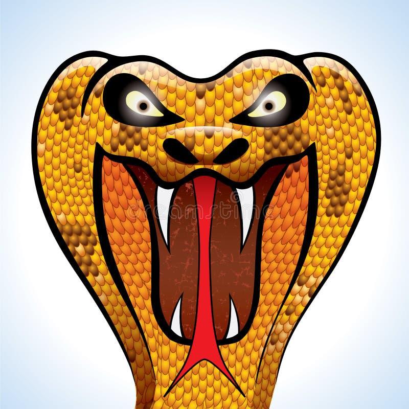 head läskigt för kobra royaltyfri illustrationer